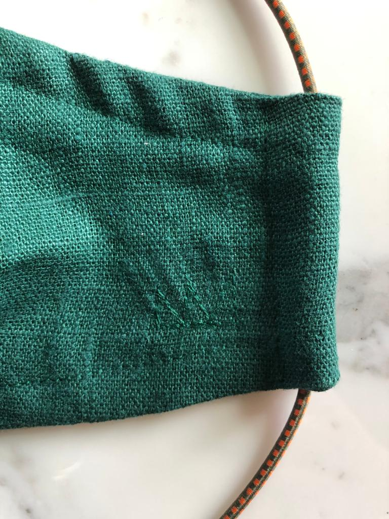 Bottle Green Linen - Close